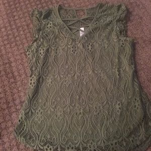 Olive green lace top.